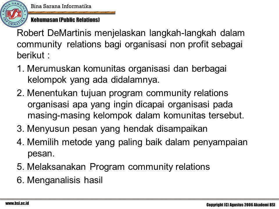 Robert DeMartinis menjelaskan langkah-langkah dalam community relations bagi organisasi non profit sebagai berikut : 1. Merumuskan komunitas organisas