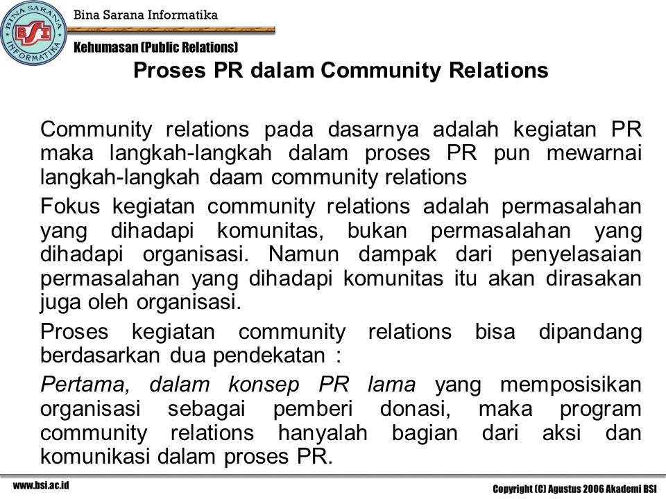 Proses PR dalam Community Relations Community relations pada dasarnya adalah kegiatan PR maka langkah-langkah dalam proses PR pun mewarnai langkah-lan