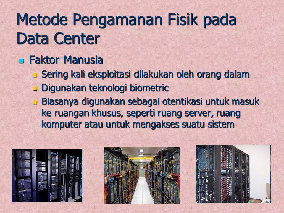 Metode Pengamanan Fisik pada Data Center Faktor Manusia Faktor Manusia Sering kali eksploitasi dilakukan oleh orang dalam Sering kali eksploitasi dila
