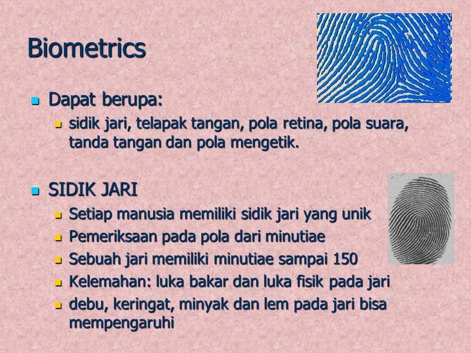 Biometrics Dapat berupa: Dapat berupa: sidik jari, telapak tangan, pola retina, pola suara, tanda tangan dan pola mengetik. sidik jari, telapak tangan