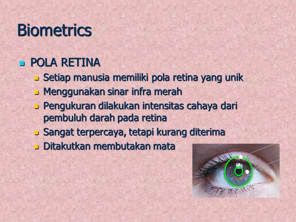 Biometrics POLA RETINA POLA RETINA Setiap manusia memiliki pola retina yang unik Setiap manusia memiliki pola retina yang unik Menggunakan sinar infra