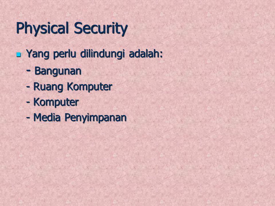 Physical Security Yang perlu dilindungi adalah: Yang perlu dilindungi adalah: - Bangunan - Ruang Komputer - Komputer - Media Penyimpanan