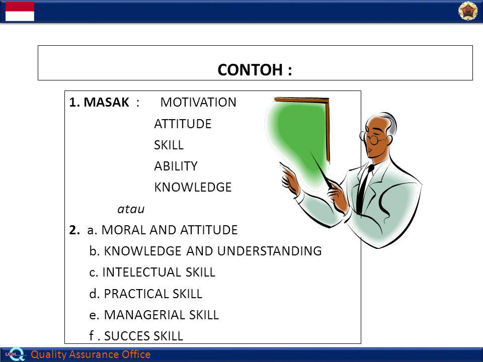 Quality Assurance Office CONTOH : 1. MASAK : MOTIVATION ATTITUDE SKILL ABILITY KNOWLEDGE atau 2. a. MORAL AND ATTITUDE b. KNOWLEDGE AND UNDERSTANDING