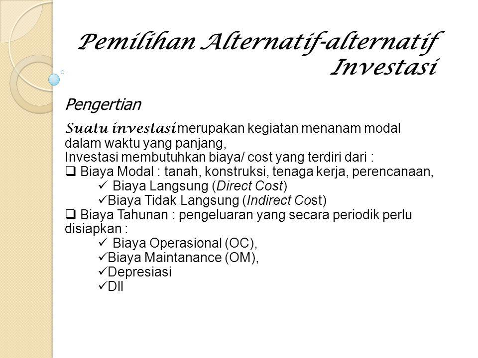 Pengertian (Cont') Disamping pengeluaran biaya-biaya tersebut maka kegiatan investasi jelas akan menghasilkan keuntungan/ profit (dalam bentuk uang) yang merupakan hasil dari penjualan-penjualan/ pemanfaatan hasil proyek atau jasa penyewaan dari proyek tersebut.