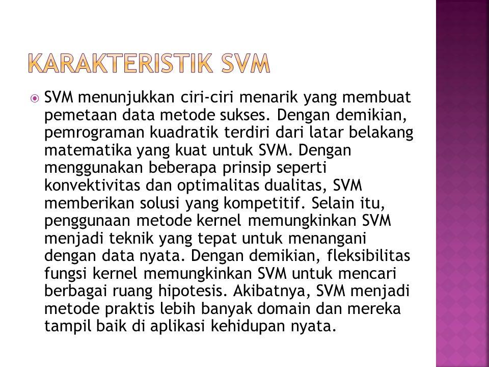  SVM menunjukkan ciri-ciri menarik yang membuat pemetaan data metode sukses.