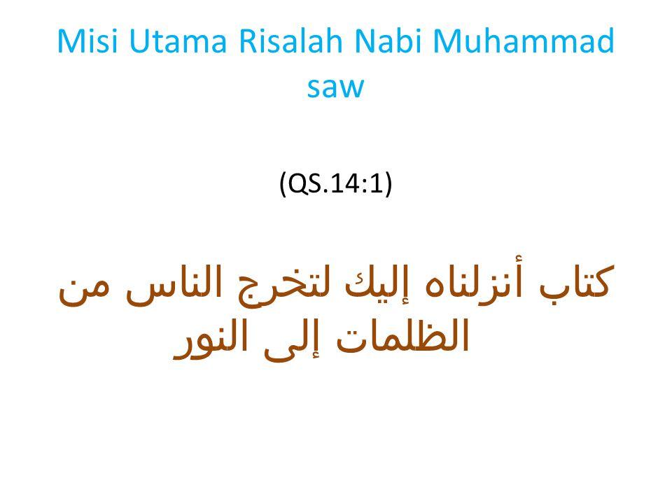 Misi Utama Risalah Nabi Muhammad saw (QS.14:1) كتاب أنزلناه إليك لتخرج الناس من الظلمات إلى النور