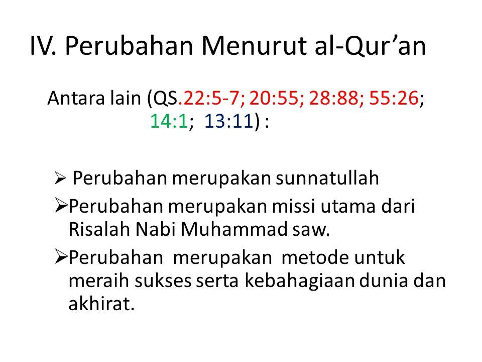 IV. Perubahan Menurut al-Qur'an Antara lain (QS.22:5-7; 20:55; 28:88; 55:26; 14:1; 13:11) :  Perubahan merupakan sunnatullah  Perubahan merupakan mi