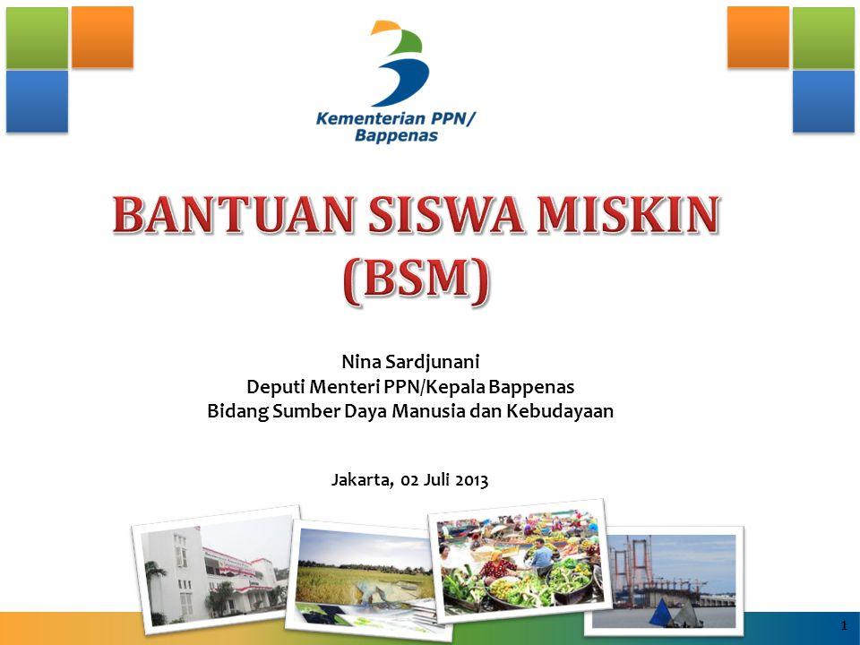 MEKANISME PENGUSULAN ANAK CALON PENERIMA BSM (1) Mulai Tahun Pelajaran 2013/2014 untuk mendapat manfaat BSM, maka: 1.