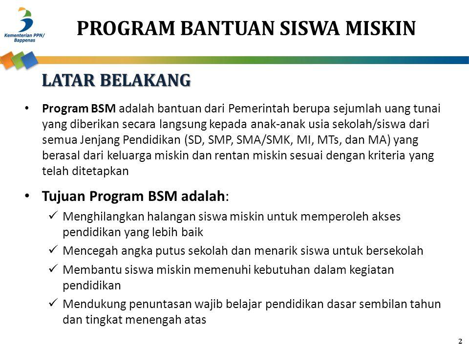 PROGRAM BANTUAN SISWA MISKIN 2 Program BSM adalah bantuan dari Pemerintah berupa sejumlah uang tunai yang diberikan secara langsung kepada anak-anak usia sekolah/siswa dari semua Jenjang Pendidikan (SD, SMP, SMA/SMK, MI, MTs, dan MA) yang berasal dari keluarga miskin dan rentan miskin sesuai dengan kriteria yang telah ditetapkan Tujuan Program BSM adalah: Menghilangkan halangan siswa miskin untuk memperoleh akses pendidikan yang lebih baik Mencegah angka putus sekolah dan menarik siswa untuk bersekolah Membantu siswa miskin memenuhi kebutuhan dalam kegiatan pendidikan Mendukung penuntasan wajib belajar pendidikan dasar sembilan tahun dan tingkat menengah atas LATAR BELAKANG