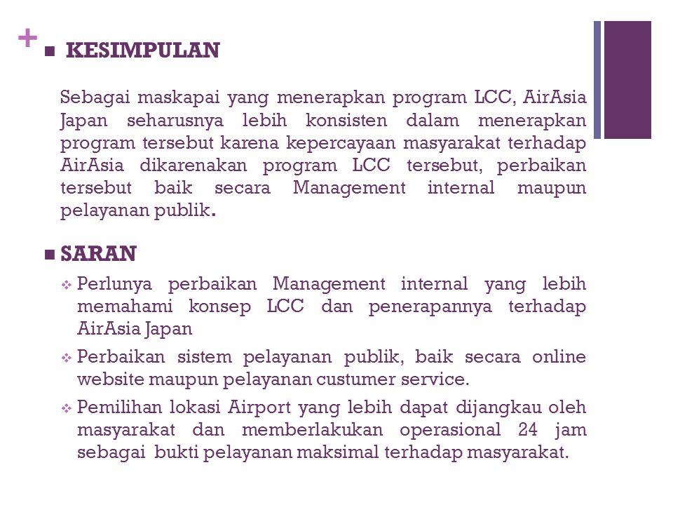 + KESIMPULAN Sebagai maskapai yang menerapkan program LCC, AirAsia Japan seharusnya lebih konsisten dalam menerapkan program tersebut karena kepercaya