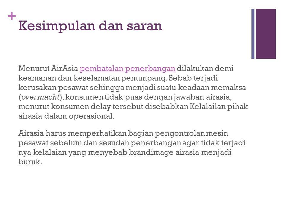 + Kesimpulan dan saran Menurut AirAsia pembatalan penerbangan dilakukan demi keamanan dan keselamatan penumpang. Sebab terjadi kerusakan pesawat sehin