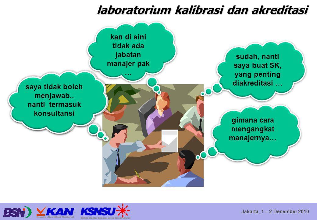 Jakarta, 1 – 2 Desember 2010 laboratorium kalibrasi dan akreditasi pokoknya anda harus mengangkat manajer mutu kan di sini tidak ada jabatan manajer p
