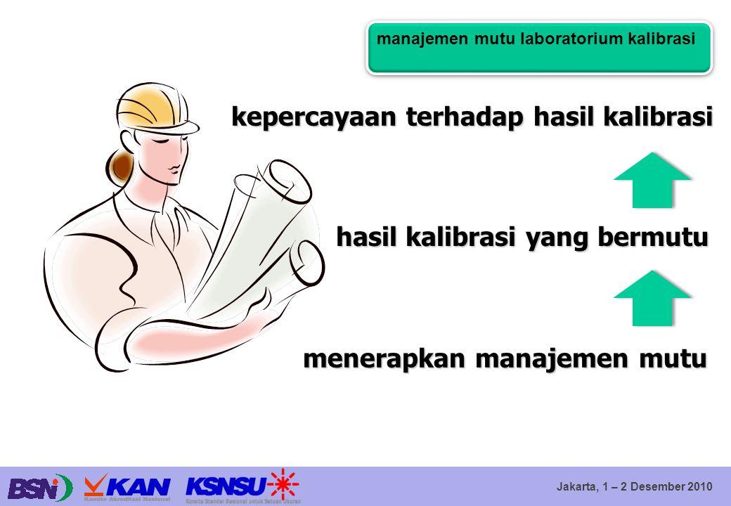 Jakarta, 1 – 2 Desember 2010 kepercayaan terhadap hasil kalibrasi hasil kalibrasi yang bermutu menerapkan manajemen mutu manajemen mutu laboratorium k