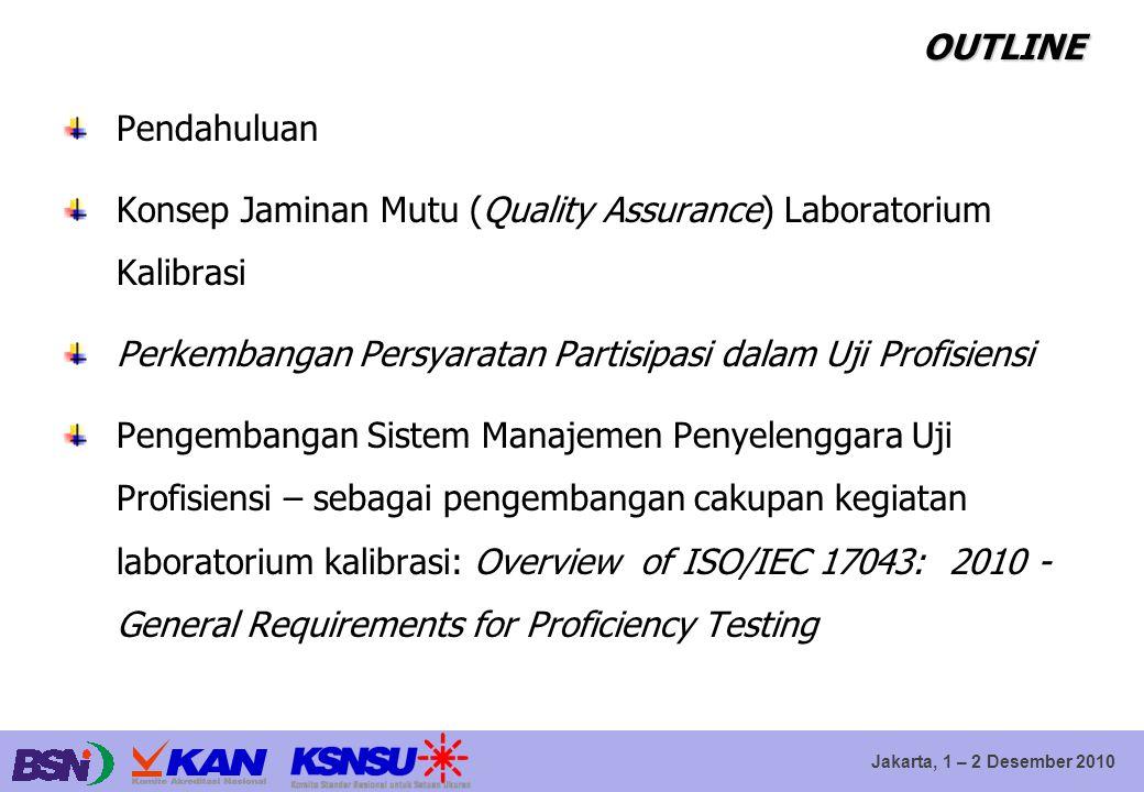 Jakarta, 1 – 2 Desember 2010 OUTLINE Pendahuluan Konsep Jaminan Mutu (Quality Assurance) Laboratorium Kalibrasi Perkembangan Persyaratan Partisipasi d