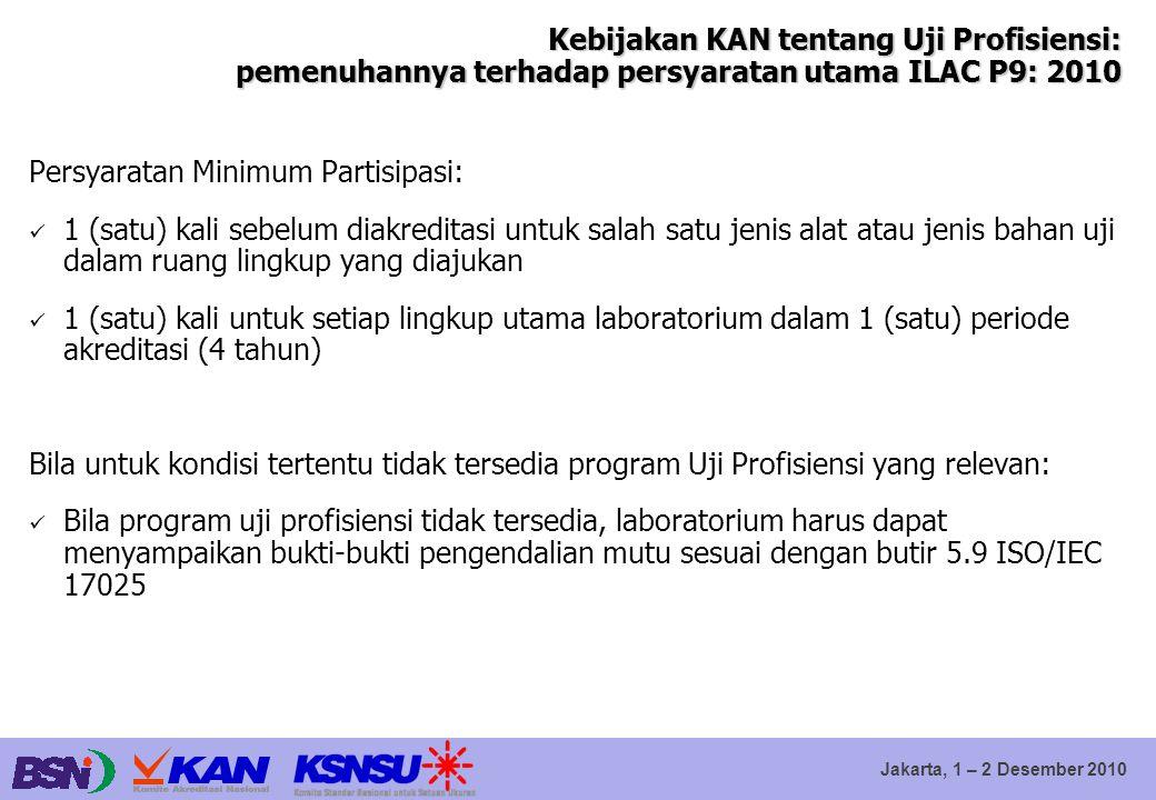 Jakarta, 1 – 2 Desember 2010 Kebijakan KAN tentang Uji Profisiensi: pemenuhannya terhadap persyaratan utama ILAC P9: 2010 Persyaratan Minimum Partisip