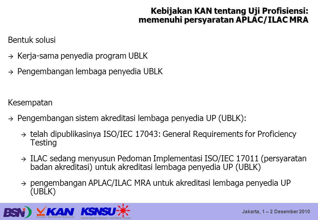 Jakarta, 1 – 2 Desember 2010 Kebijakan KAN tentang Uji Profisiensi: memenuhi persyaratan APLAC/ILAC MRA Bentuk solusi  Kerja-sama penyedia program UB