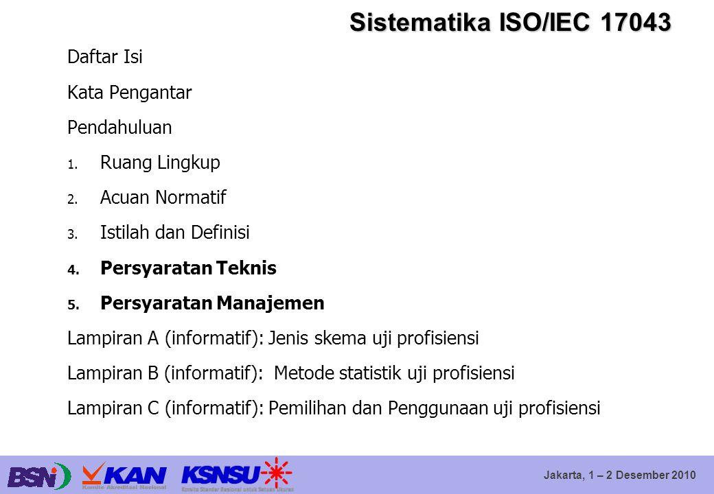 Jakarta, 1 – 2 Desember 2010 Sistematika ISO/IEC 17043 Daftar Isi Kata Pengantar Pendahuluan 1. Ruang Lingkup 2. Acuan Normatif 3. Istilah dan Definis