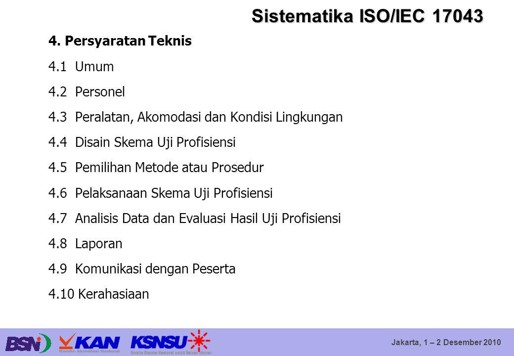 Jakarta, 1 – 2 Desember 2010 Sistematika ISO/IEC 17043 4. Persyaratan Teknis 4.1 Umum 4.2 Personel 4.3 Peralatan, Akomodasi dan Kondisi Lingkungan 4.4