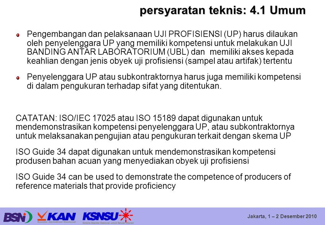 Jakarta, 1 – 2 Desember 2010 persyaratan teknis: 4.1 Umum Pengembangan dan pelaksanaan UJI PROFISIENSI (UP) harus dilaukan oleh penyelenggara UP yang