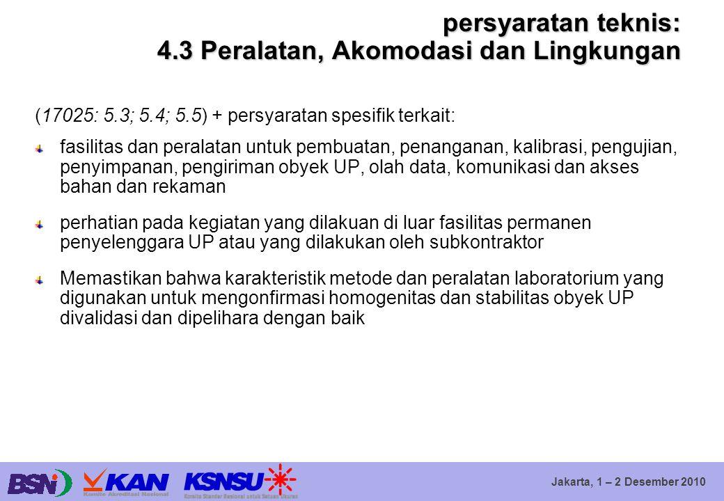 Jakarta, 1 – 2 Desember 2010 persyaratan teknis: 4.3 Peralatan, Akomodasi dan Lingkungan (17025: 5.3; 5.4; 5.5) + persyaratan spesifik terkait: fasili