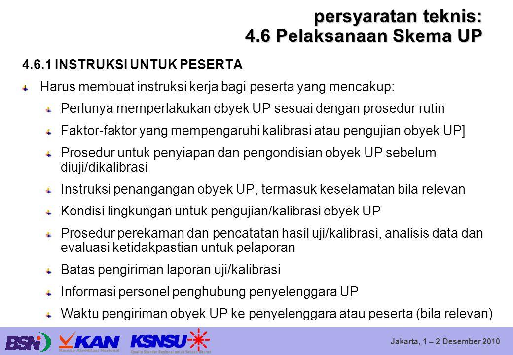 Jakarta, 1 – 2 Desember 2010 persyaratan teknis: 4.6 Pelaksanaan Skema UP 4.6.1 INSTRUKSI UNTUK PESERTA Harus membuat instruksi kerja bagi peserta yan