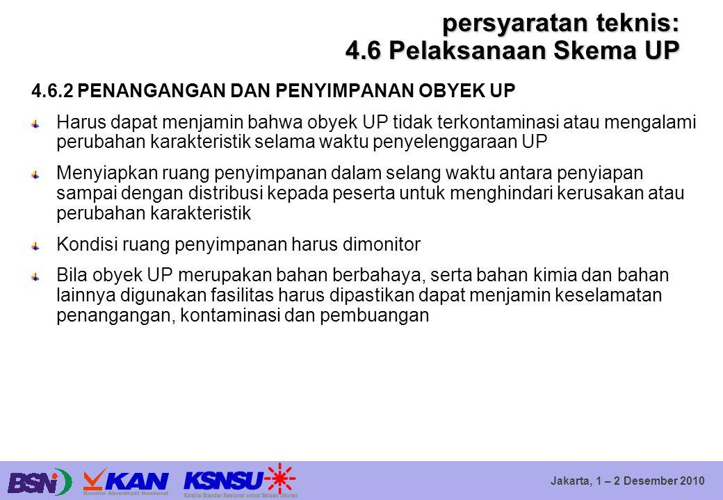 Jakarta, 1 – 2 Desember 2010 persyaratan teknis: 4.6 Pelaksanaan Skema UP 4.6.2 PENANGANGAN DAN PENYIMPANAN OBYEK UP Harus dapat menjamin bahwa obyek