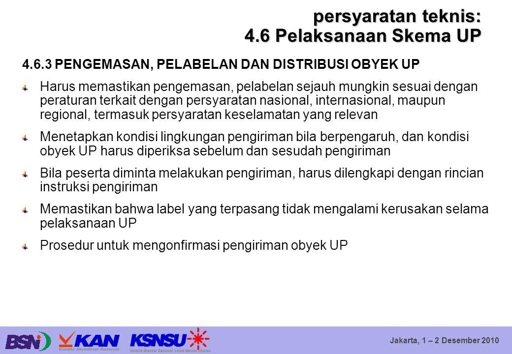 Jakarta, 1 – 2 Desember 2010 persyaratan teknis: 4.6 Pelaksanaan Skema UP 4.6.3 PENGEMASAN, PELABELAN DAN DISTRIBUSI OBYEK UP Harus memastikan pengema