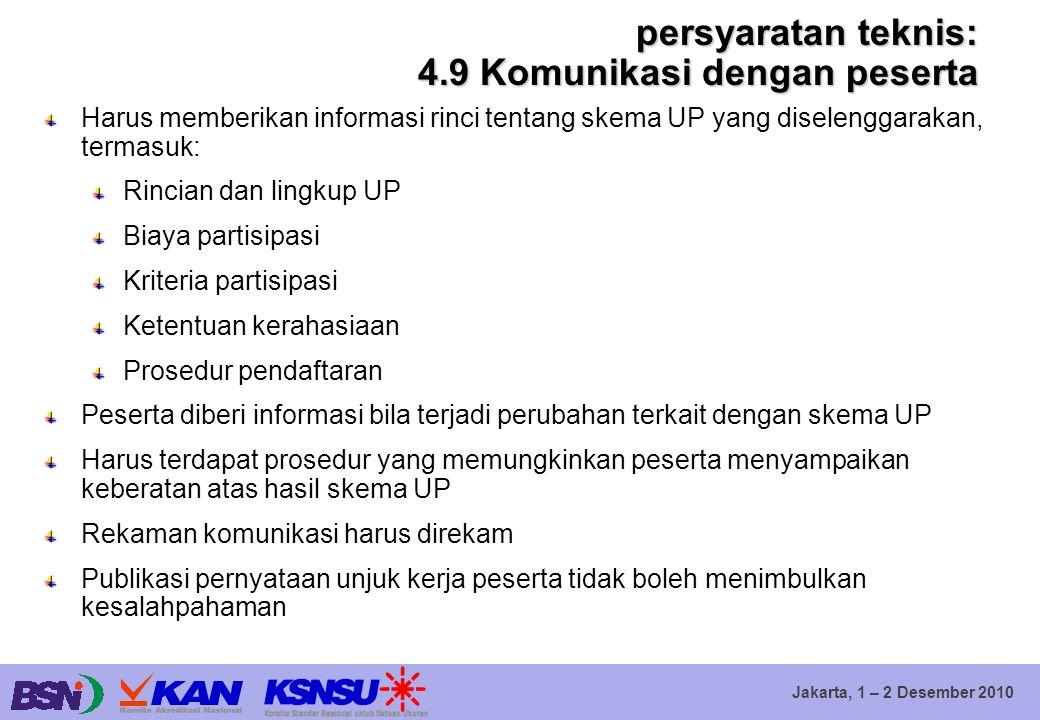 Jakarta, 1 – 2 Desember 2010 persyaratan teknis: 4.9 Komunikasi dengan peserta Harus memberikan informasi rinci tentang skema UP yang diselenggarakan,