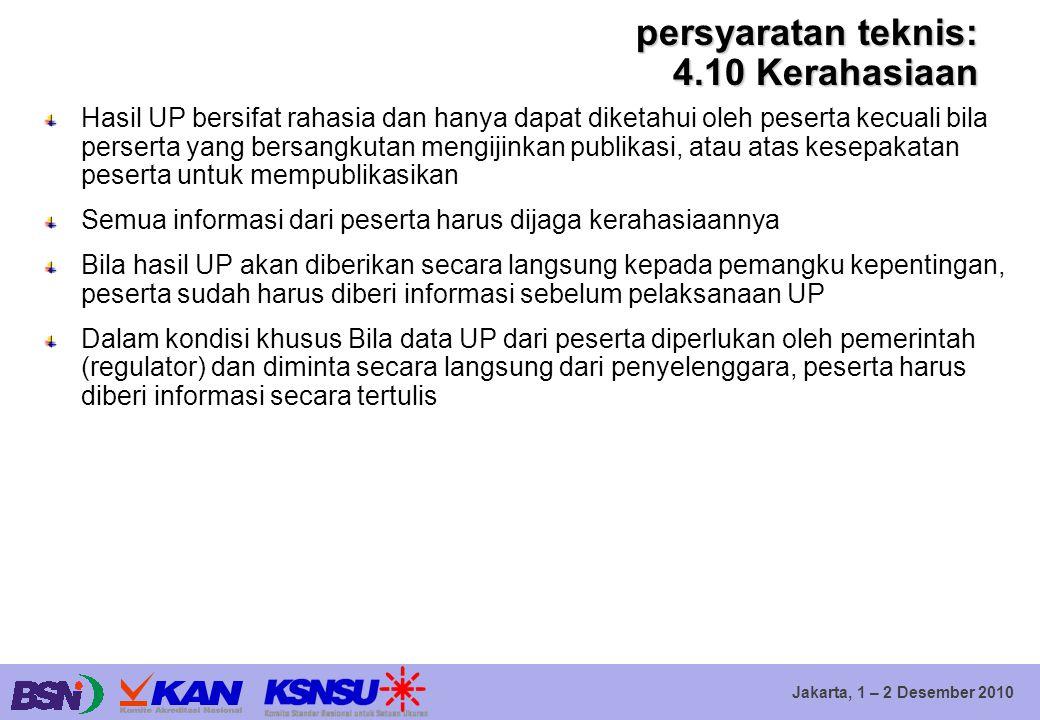 Jakarta, 1 – 2 Desember 2010 persyaratan teknis: 4.10 Kerahasiaan Hasil UP bersifat rahasia dan hanya dapat diketahui oleh peserta kecuali bila perser