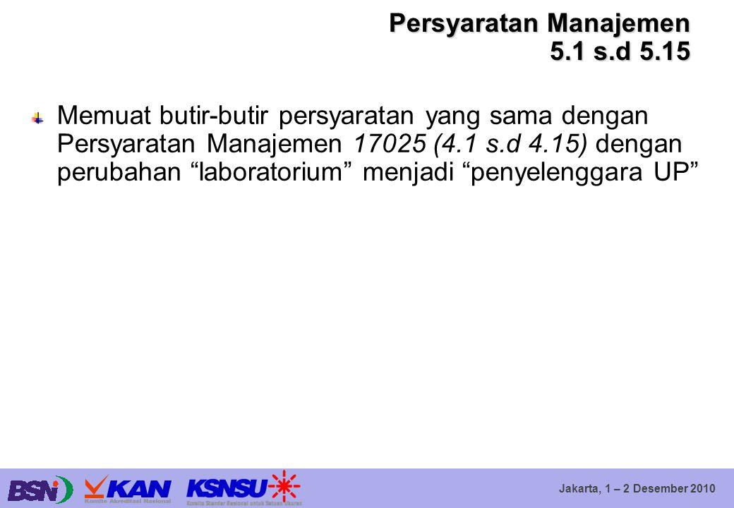 Jakarta, 1 – 2 Desember 2010 Persyaratan Manajemen 5.1 s.d 5.15 Memuat butir-butir persyaratan yang sama dengan Persyaratan Manajemen 17025 (4.1 s.d 4