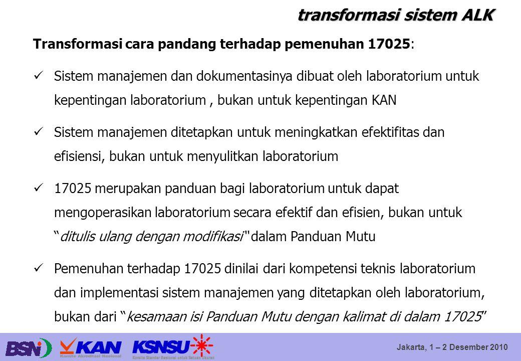 Jakarta, 1 – 2 Desember 2010 transformasi sistem ALK Transformasi cara pandang terhadap pemenuhan 17025: Sistem manajemen dan dokumentasinya dibuat ol