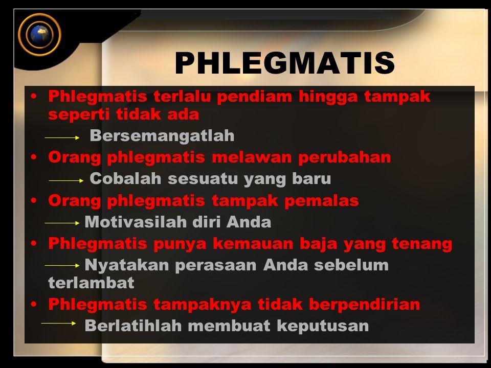 PHLEGMATIS Phlegmatis terlalu pendiam hingga tampak seperti tidak ada Bersemangatlah Orang phlegmatis melawan perubahan Cobalah sesuatu yang baru Oran