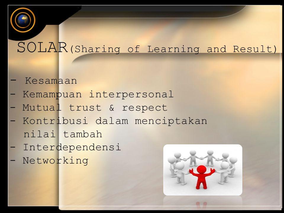 - Kesamaan - Kemampuan interpersonal - Mutual trust & respect - Kontribusi dalam menciptakan nilai tambah - Interdependensi - Networking SOLAR (Sharin
