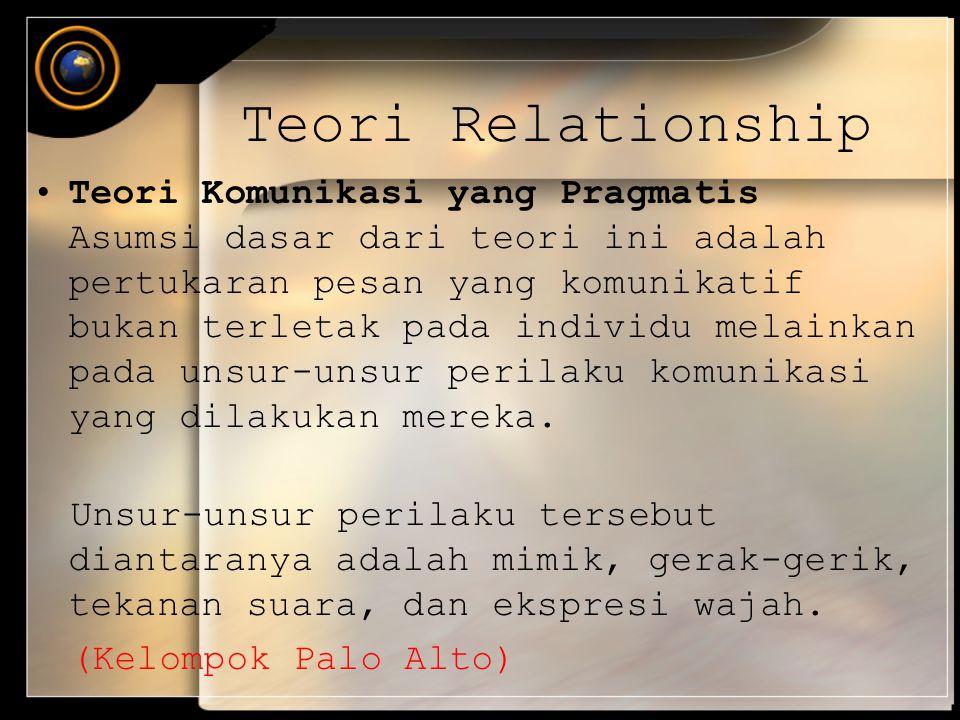 Teori Relationship Teori Komunikasi yang Pragmatis Asumsi dasar dari teori ini adalah pertukaran pesan yang komunikatif bukan terletak pada individu m