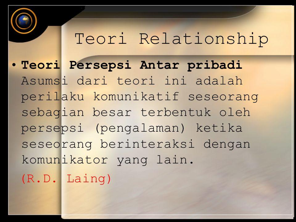 Teori Relationship Teori Persepsi Antar pribadi Asumsi dari teori ini adalah perilaku komunikatif seseorang sebagian besar terbentuk oleh persepsi (pe