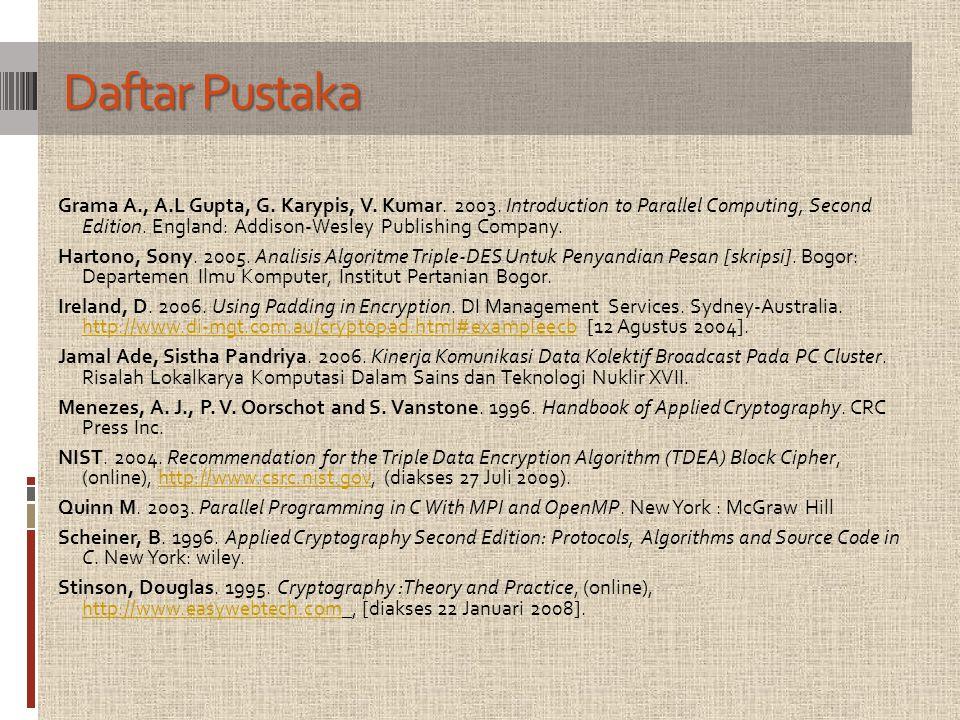 Daftar Pustaka Grama A., A.L Gupta, G. Karypis, V.