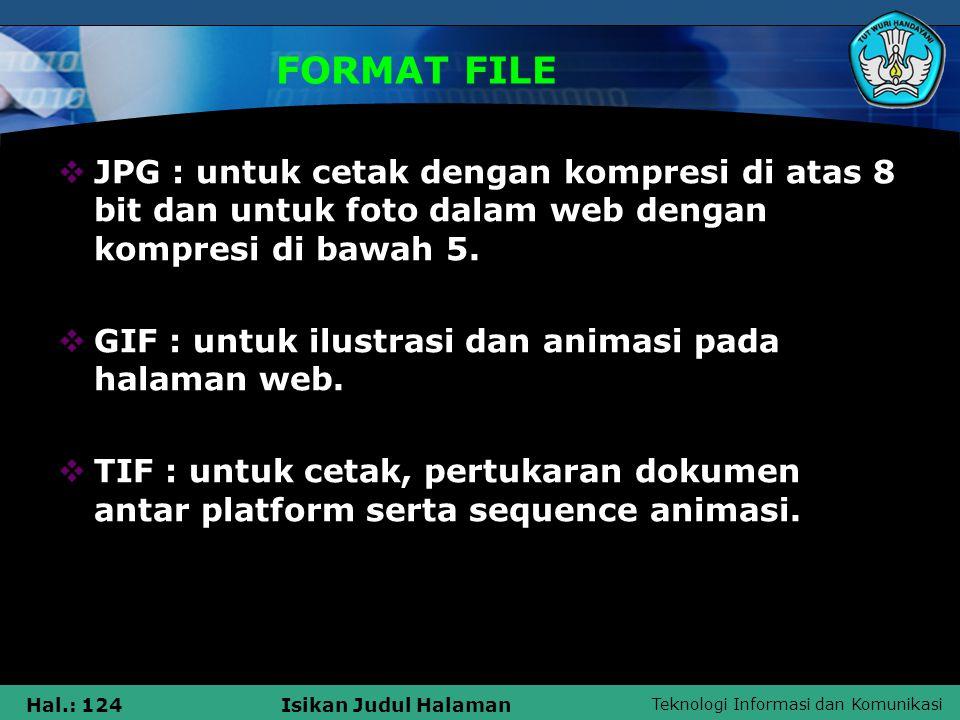 Teknologi Informasi dan Komunikasi Hal.: 124Isikan Judul Halaman FORMAT FILE  JPG : untuk cetak dengan kompresi di atas 8 bit dan untuk foto dalam we