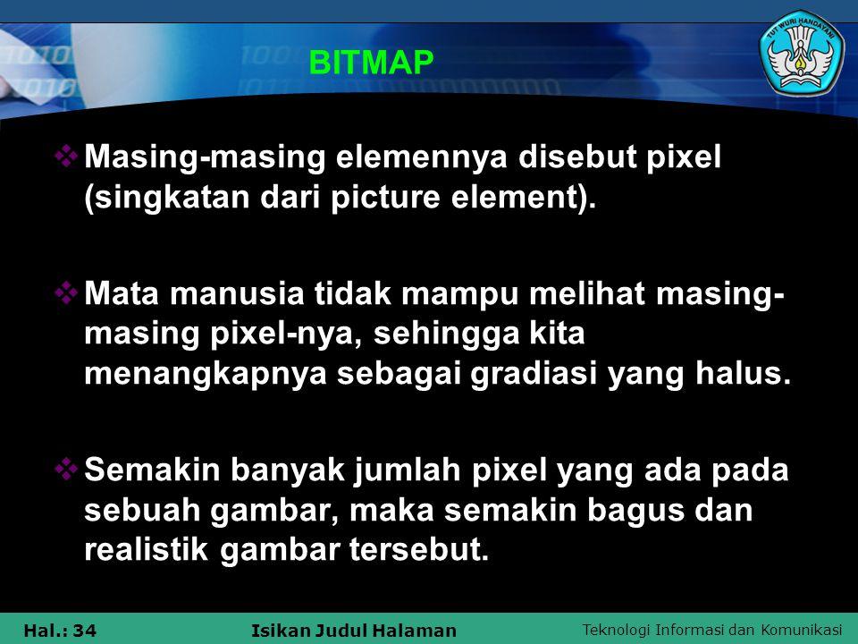 Teknologi Informasi dan Komunikasi Hal.: 34Isikan Judul Halaman BITMAP  Masing-masing elemennya disebut pixel (singkatan dari picture element).  Mat