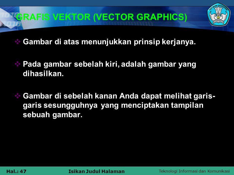 Teknologi Informasi dan Komunikasi Hal.: 47Isikan Judul Halaman GRAFIS VEKTOR (VECTOR GRAPHICS)  Gambar di atas menunjukkan prinsip kerjanya.  Pada