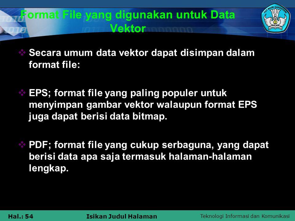 Teknologi Informasi dan Komunikasi Hal.: 54Isikan Judul Halaman Format File yang digunakan untuk Data Vektor  Secara umum data vektor dapat disimpan