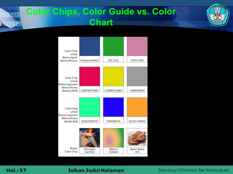Teknologi Informasi dan Komunikasi Hal.: 57Isikan Judul Halaman Color Chips, Color Guide vs. Color Chart