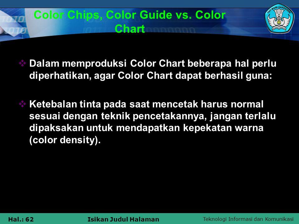 Teknologi Informasi dan Komunikasi Hal.: 62Isikan Judul Halaman Color Chips, Color Guide vs. Color Chart  Dalam memproduksi Color Chart beberapa hal