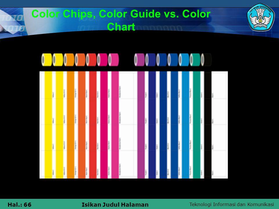 Teknologi Informasi dan Komunikasi Hal.: 66Isikan Judul Halaman Color Chips, Color Guide vs. Color Chart