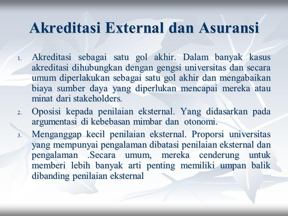 Akreditasi External dan Asuransi 1. Akreditasi sebagai satu gol akhir. Dalam banyak kasus akreditasi dihubungkan dengan gengsi universitas dan secara