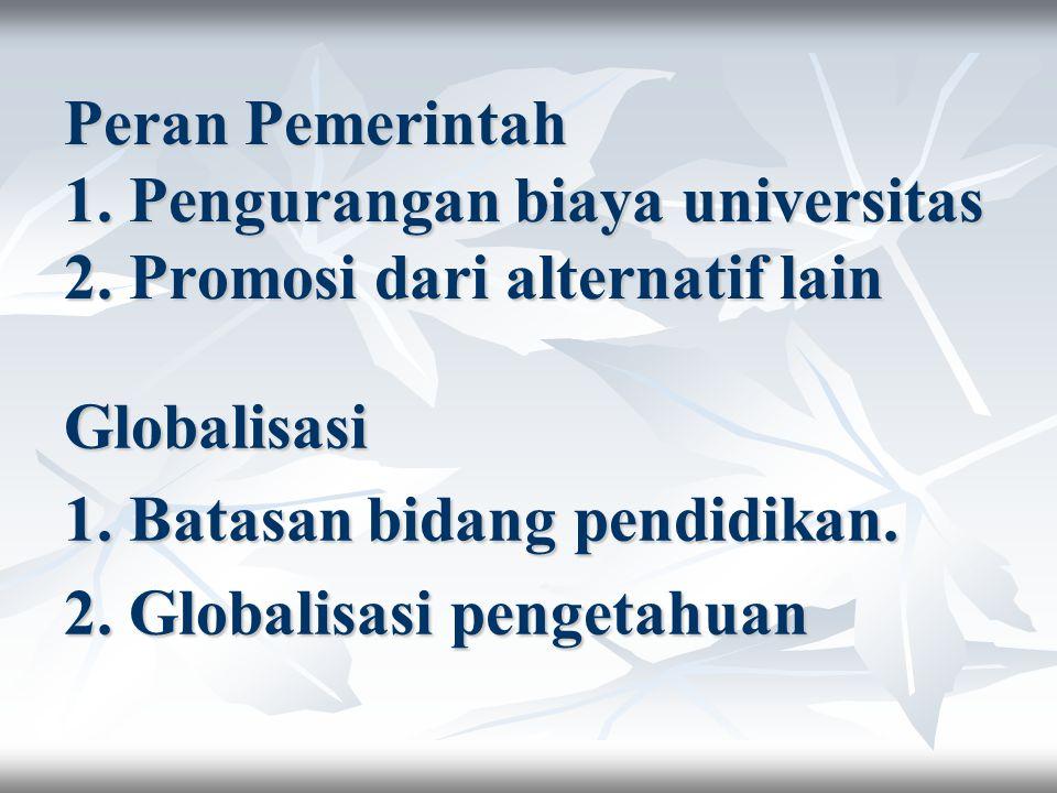 Peran Pemerintah 1. Pengurangan biaya universitas 2. Promosi dari alternatif lain Globalisasi 1. Batasan bidang pendidikan. 2. Globalisasi pengetahuan