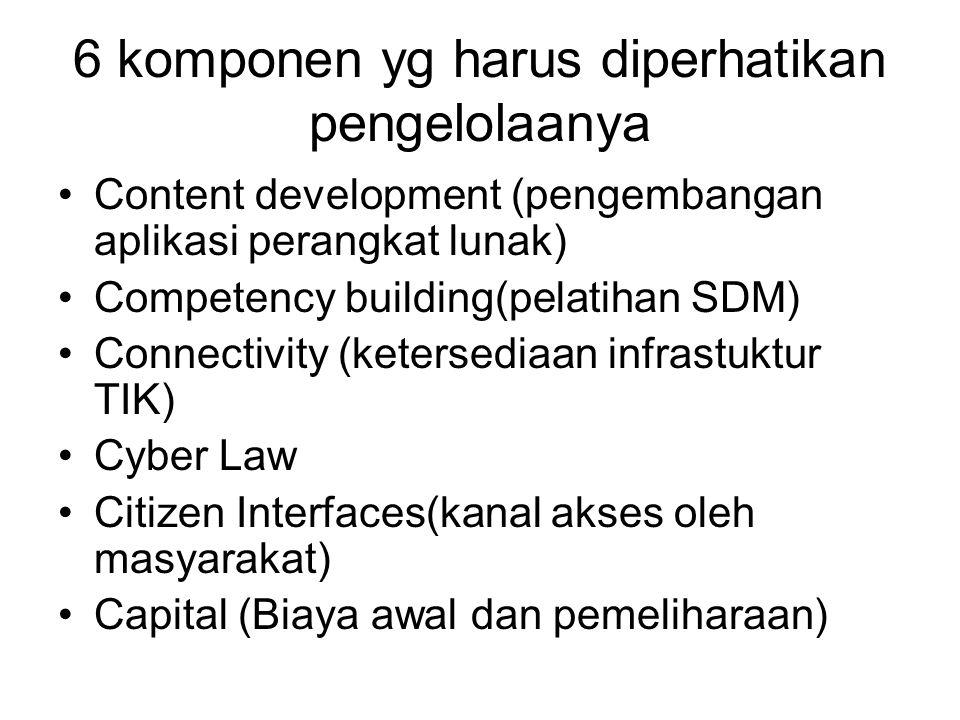 6 komponen yg harus diperhatikan pengelolaanya Content development (pengembangan aplikasi perangkat lunak) Competency building(pelatihan SDM) Connectivity (ketersediaan infrastuktur TIK) Cyber Law Citizen Interfaces(kanal akses oleh masyarakat) Capital (Biaya awal dan pemeliharaan)