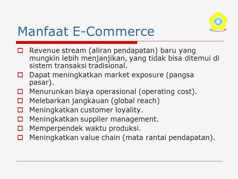 Manfaat E-Commerce  Revenue stream (aliran pendapatan) baru yang mungkin lebih menjanjikan, yang tidak bisa ditemui di sistem transaksi tradisional.