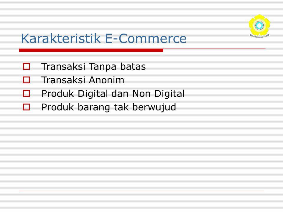 Karakteristik E-Commerce  Transaksi Tanpa batas  Transaksi Anonim  Produk Digital dan Non Digital  Produk barang tak berwujud