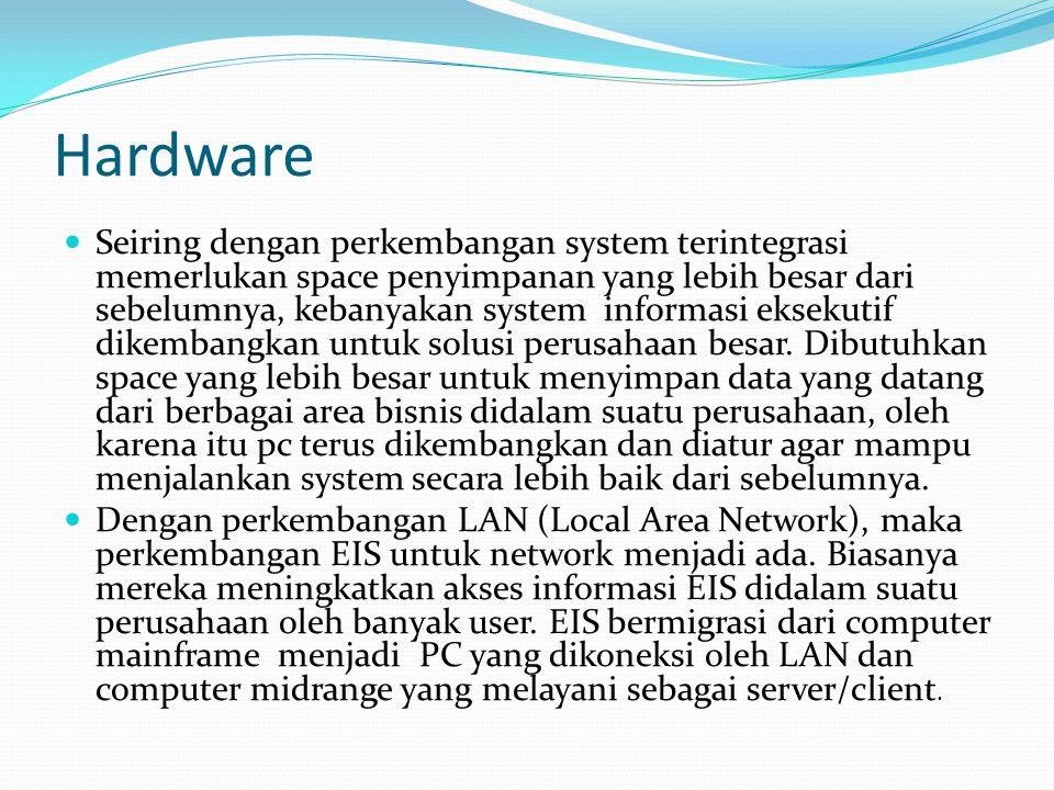 Hardware Seiring dengan perkembangan system terintegrasi memerlukan space penyimpanan yang lebih besar dari sebelumnya, kebanyakan system informasi ek