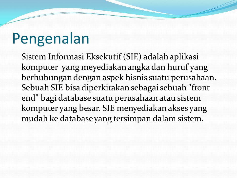Pengenalan Sistem Informasi Eksekutif (SIE) adalah aplikasi komputer yang meyediakan angka dan huruf yang berhubungan dengan aspek bisnis suatu perusa